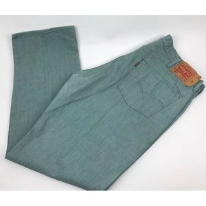 Mens Levi's 501 Blue Green Wash Jeans Straight Leg